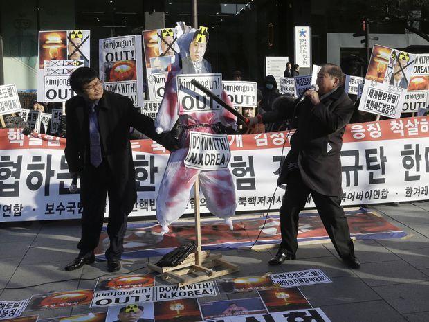 južná kórea, kórea, protest, demonštrácia, test vodíkovej bomby,