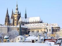 Praha, hrad, Hradčany, Pražský hrad, zima, sneh