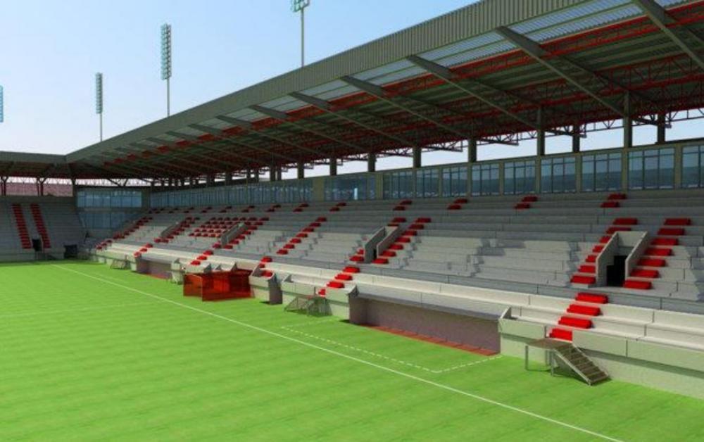 Takto by mala vyzerať jedna z tribún na novom štadióne v Trenčíne.