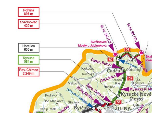 mapa, diaľnica, Kysuce
