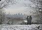 Pohľad na zasnežený Londýn z One Tree Hill.
