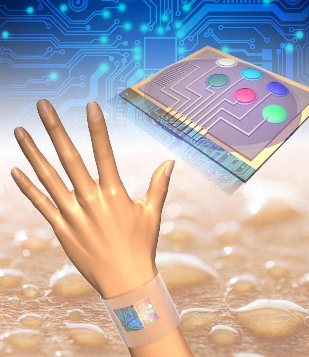 Päť senzorov meria zloženie potu a čip údaje vysiela do smasrtfónu.