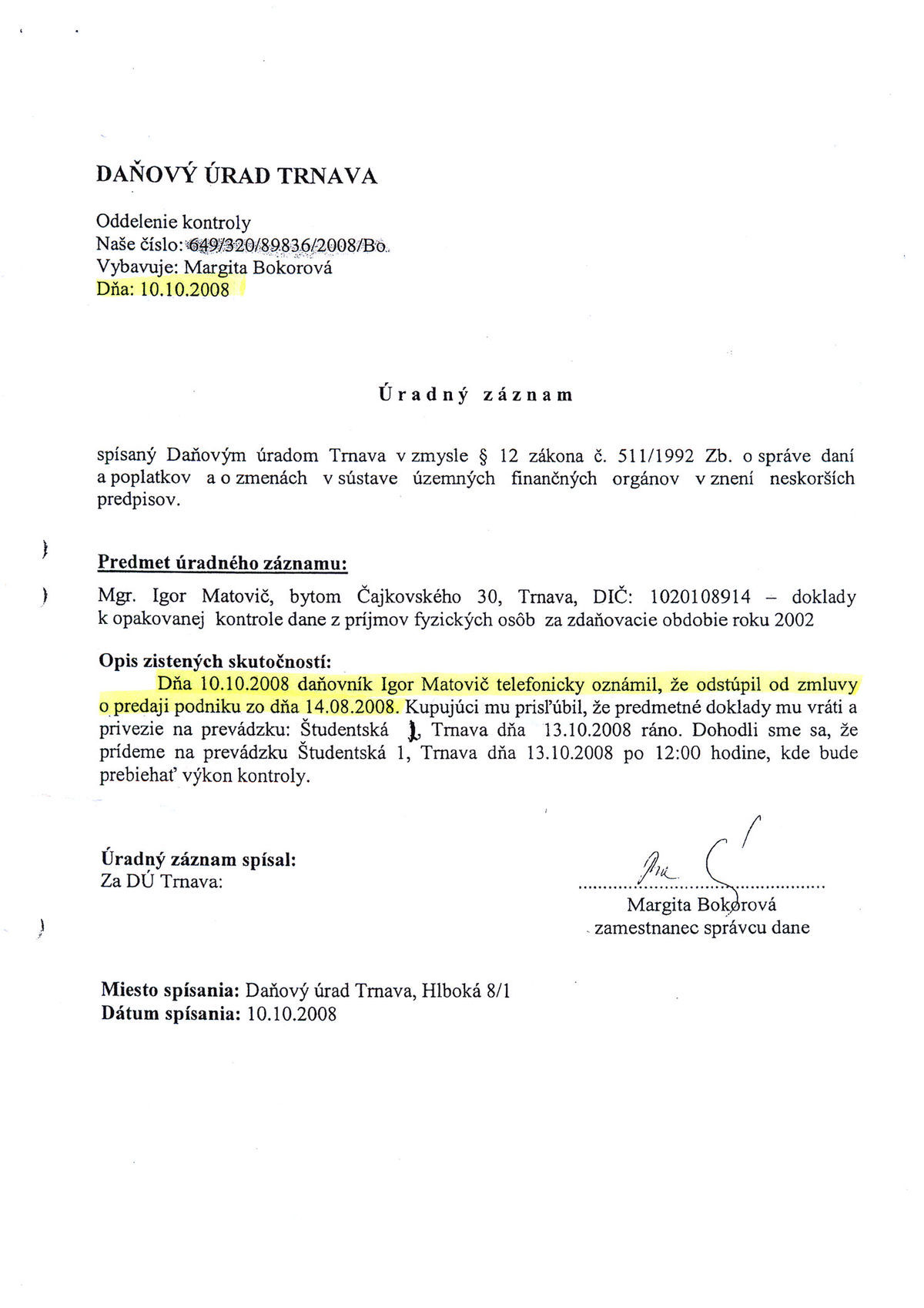 Úradný záznam z daňového úradu v Trnave.