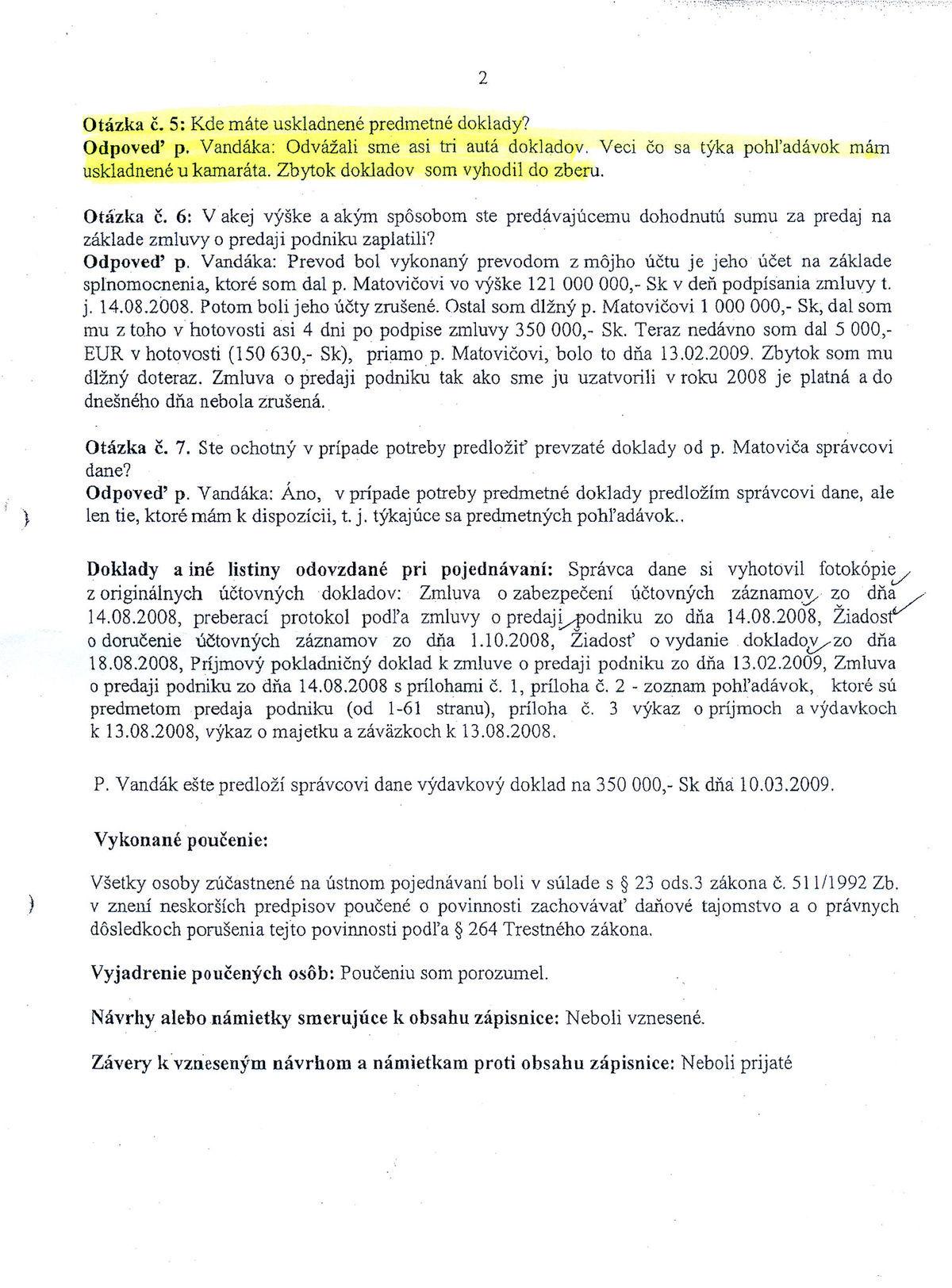 Zápisnica o ústnom pojednávaní, daňový úrad Trnava, strana 2.
