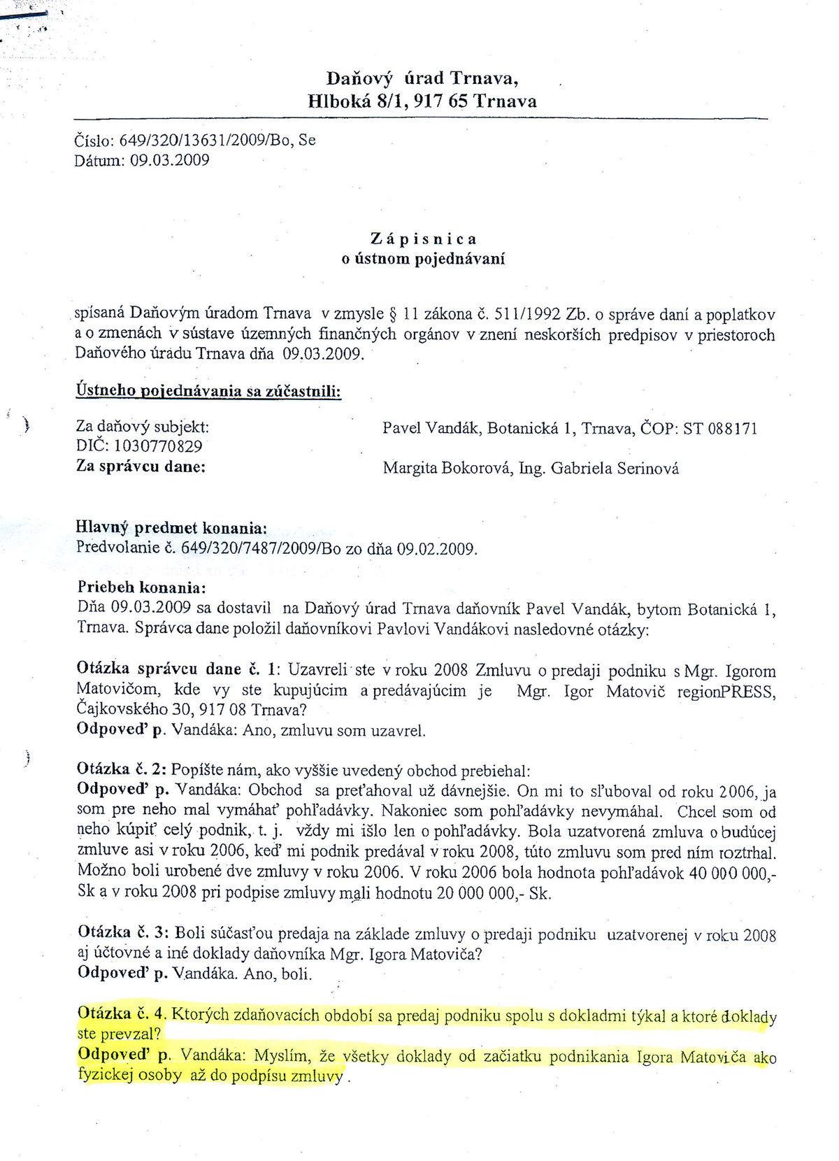 Zápisnica o ústnom pojednávaní, daňový úrad Trnava, strana 1.