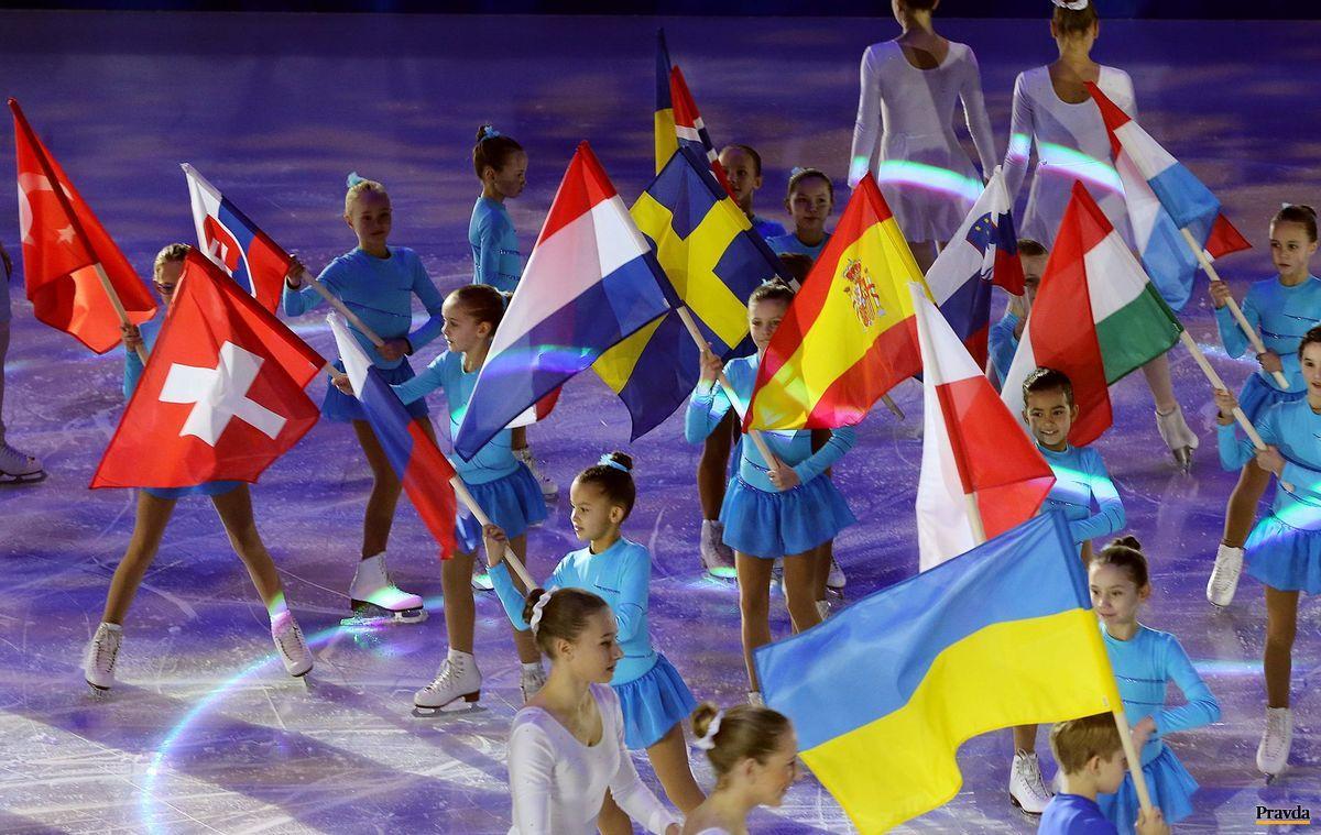 Otvárací ceremoniál majstrovstiev Európy v krasokorčuľovaní v Bratislave.