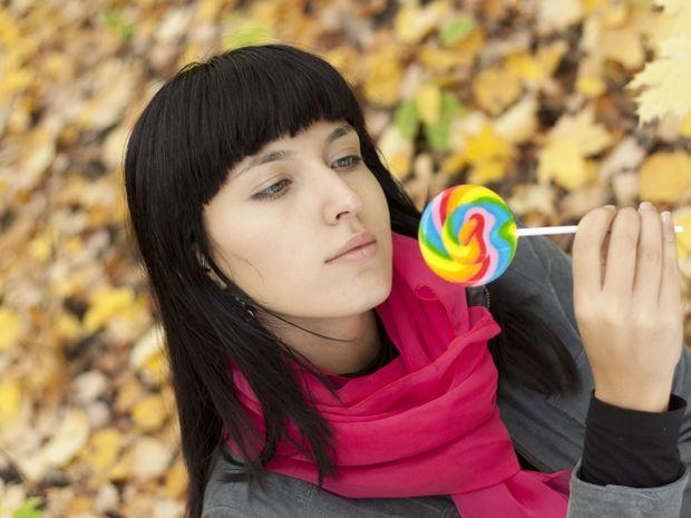 žena, lízatko, cukor, sladkosti
