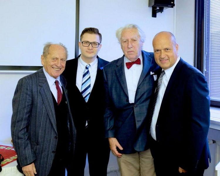 Zľava: prof. Čech, prim. Dosedla, prof. Jirásek, prof. Calda.