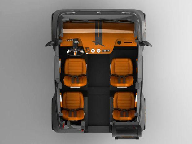 Konfigurácia interiéru je inšpirovaná svetom dopravných lietadiel. Sedadlá sú na kraji a medzi nimi praktická ulička, ktorá môže slúžiť aj pre batožinu.