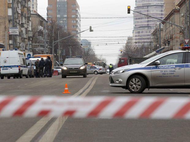 Moskva, stanica, metro, polícia, Rusko