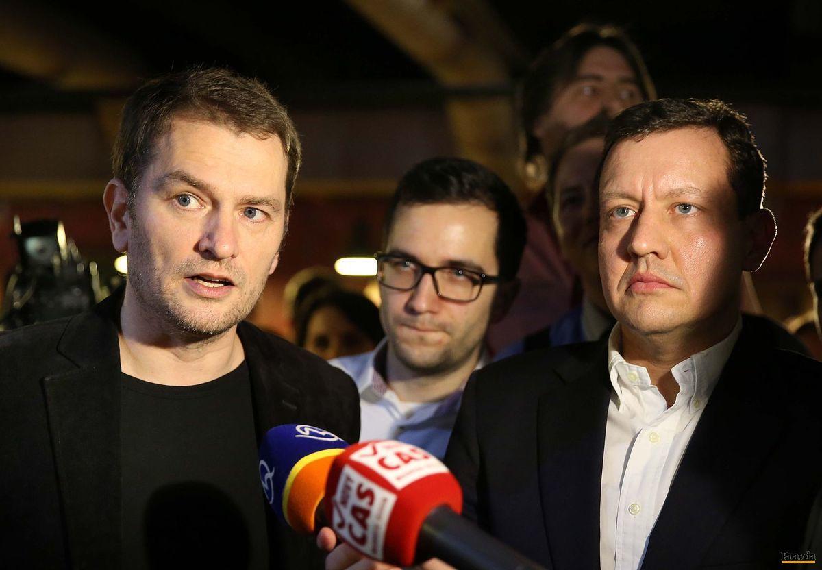 Volebný štáb OĽaNO-Nova: Igor Matovič a Daniel Lipšic.