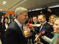 Zľava: Predseda strany Most-Híd Béla Bugár a podpredseda strany Most-Híd Zsolt Simon počas volebnej noci vo volebnej centrále počas volieb do Národnej rady SR v roku 2016.