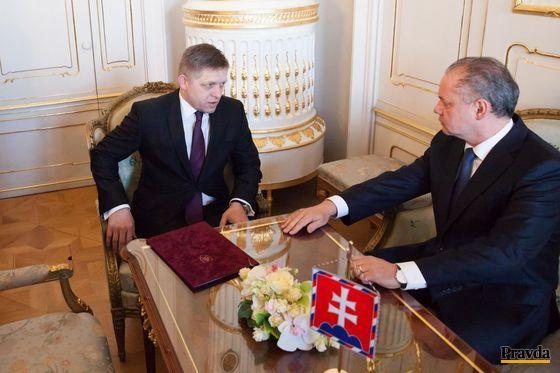 Prezident Andrej Kiska prijal predsedu strany Smer Roberta Fica.