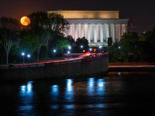 Washington, USA, Amerika, mesiac, noc, Lincolnov pamätník