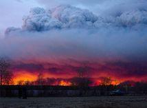požiar, krajina, kanada, alberta, stav ohrozenia,