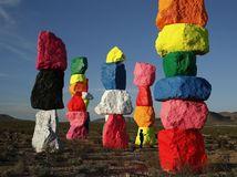 kamene, farebné stĺpy, Nevada, skaly, farby, dúha, púšť