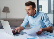 počítač, banka, financie, účet, peniaze, práca, účtovanie, úver