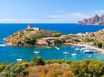 Korzika, Francúzsko, leto, dovolenka, more, pláž, lode, člny