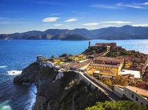 Elba, ostrov, more, pevnosť, útes, dovolenka, leto, hory, vrchy