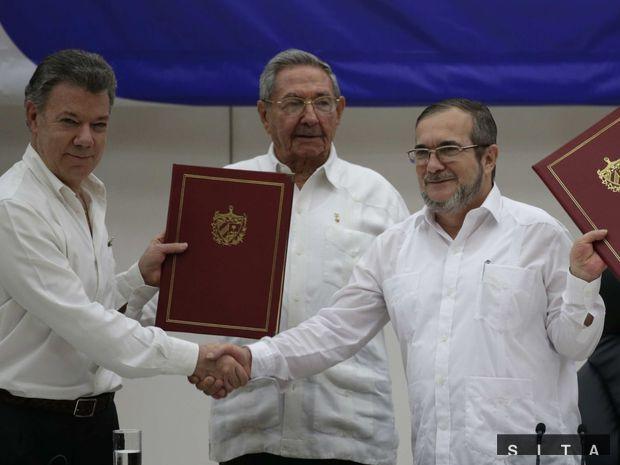 kuba, mier, Juan Manuel Santos, Raul Castro, Timoleon Jimenez