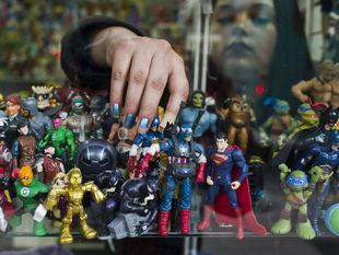 Čile, Kapitán Amerika, Superman, ninja nindža korytnačka, figúrky, hračky, výklad