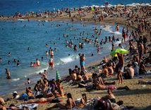 pláž, Barcelona, more, piesok, oceán, voda, leto, kúpanie