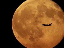 lietadlo, mesiac, spln, noc, cestovanie, doprava