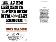 Jan Kollar. Legenda o velkom Slovanovi. Frontispice  kapitolova dvojstrana. 1. zvaezok edicie Sondy  1973