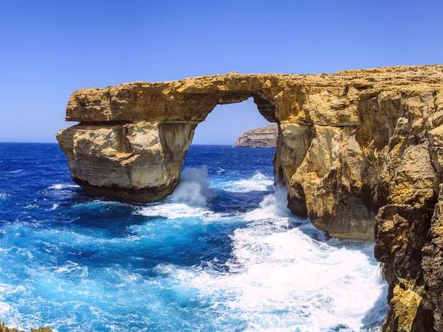 ostrov Gozo, Malta, more, leto, skala,