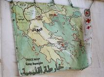 mapa, Grécko, migranti, stan