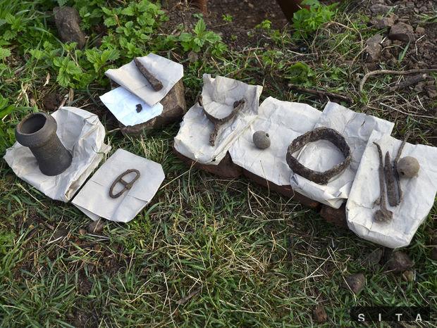 Predmety nájdené na mieste archeologického výskumu v lokalite Zámčisko.
