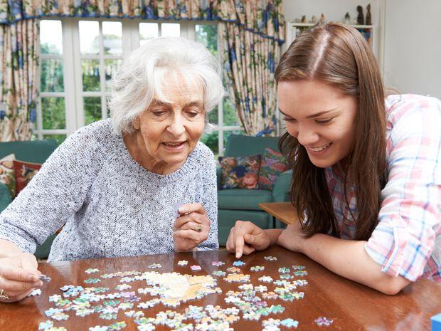 rodina, príbuzní, babka, vnučka, puzzle, hra