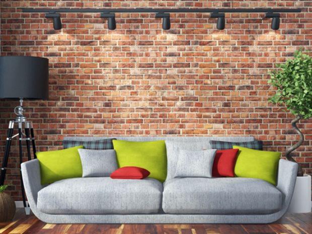 obývačka, izba, obklad, tehly, gauč, pohovka, interiér, vankúše