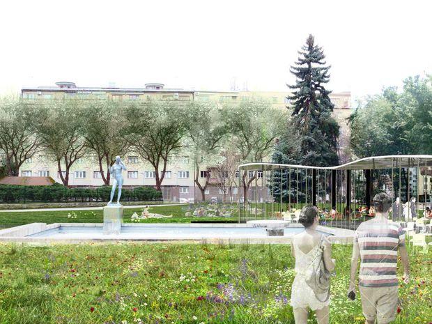 Návrh revitalizácie verejného priestoru Šafárikovo námestia. Autorom je združenie f&b cc / b.hrbáň.