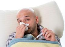 chlap, muž, chrípka, prechladnutie, nádcha, teplota, teplomer