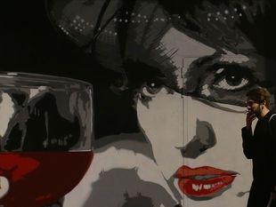 kresba, žena, graffiti, víno,