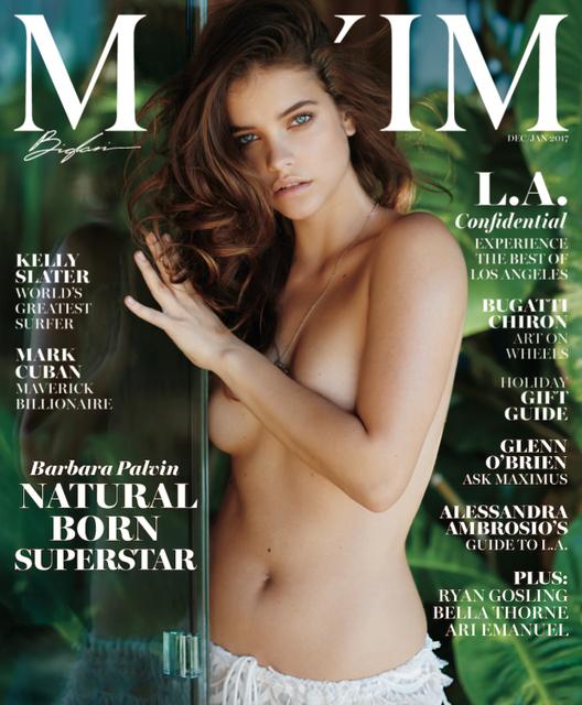 Maďarská modelka Barbara Palvin pózuje na titulnej strane časopisu Maxim.