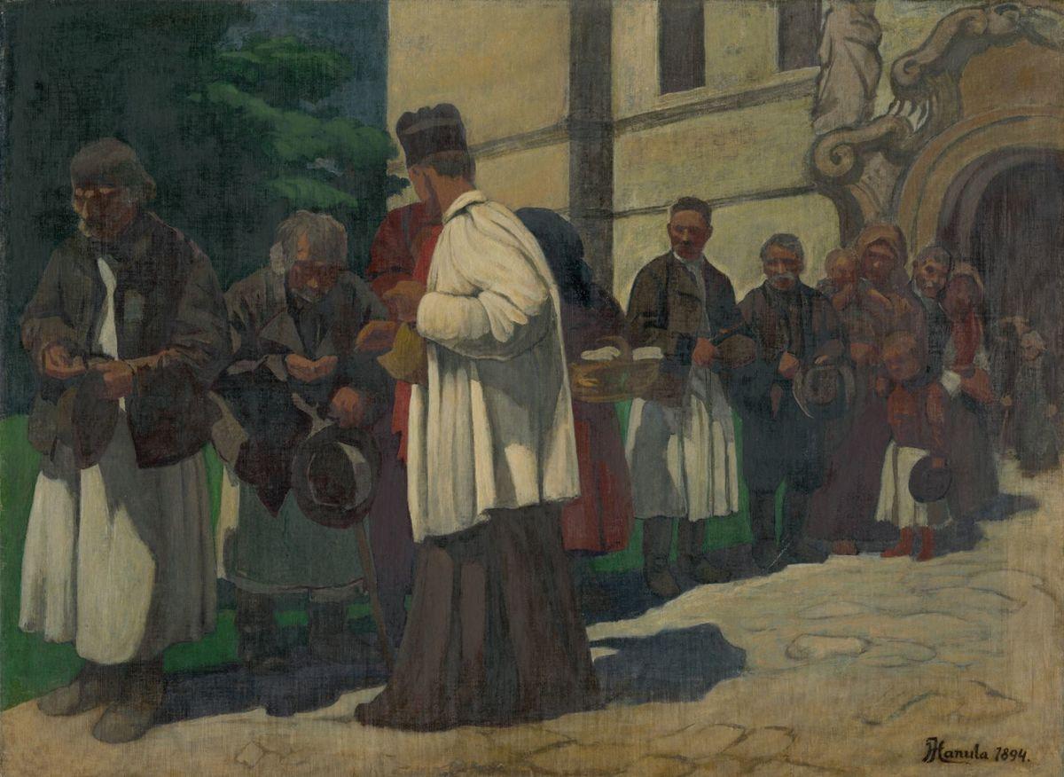 Podoba chudoby v 19. storočí na obraze Jozefa Hanulu - Almužna (štúdia k obrazu Chudobní).