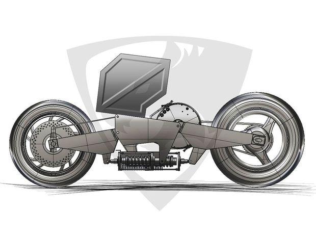 Motocykel je zaujímavý najmä konštrukciou podvozka s horizontálne umiestnenými ramenami a so spoločnou pružiacou jednotkou pre predné aj zadné koleso.