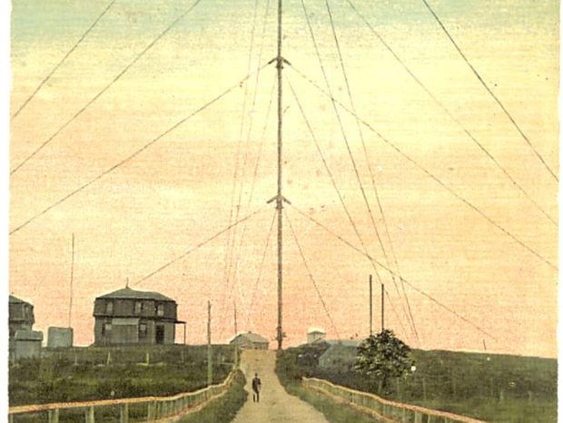 Vysielač v Brant Rocku ako vyzeral v roku 1910.