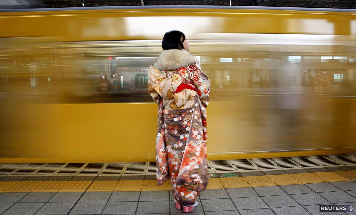 Japonsko, vlak, Japonka