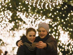 selfie, Vianoce, fotka, mobil, dvojica, Kyjev,