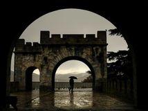 Španielsko, dážď, dáždnik, Pamplona, oblúk