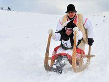 krňačky, sane, zima, sneh, preteky