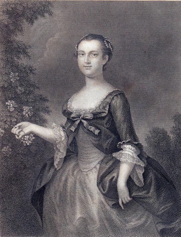 Prvá prvá dáma USA Martha Custis Washingtonová v mladosti.