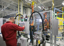 Volkswagen, stroj, pracovník, automobilka