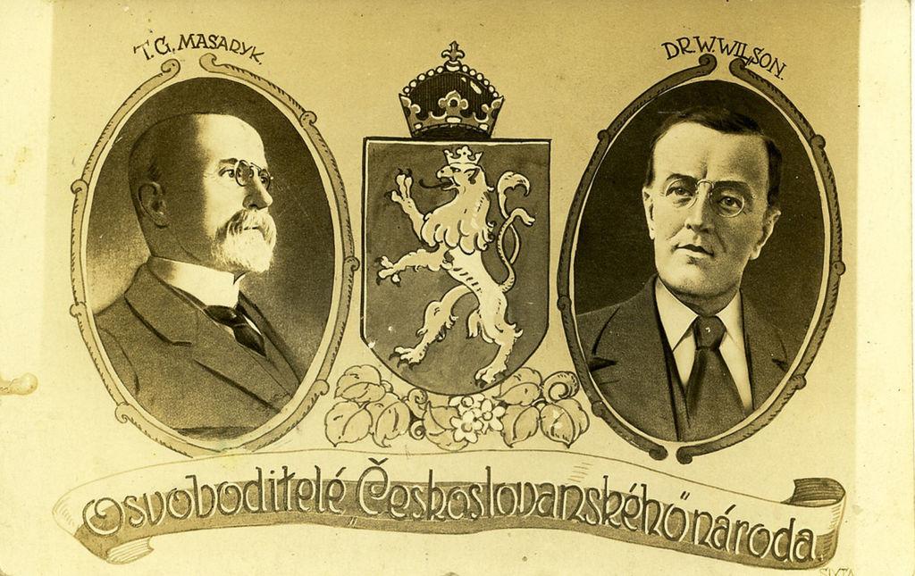 Pohľadnica z roku 1920. Wilson sa u nás tešil veľkej popularite, takmer po ňom pomenovali Bratislavu. S Masarykom sa prvýkrát stretli v júni 1918 v Bielom dome.