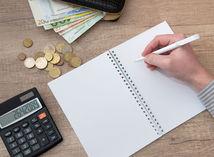 zošit, kalkulačka, peniaze, drobné, ruka, pero, počítanie