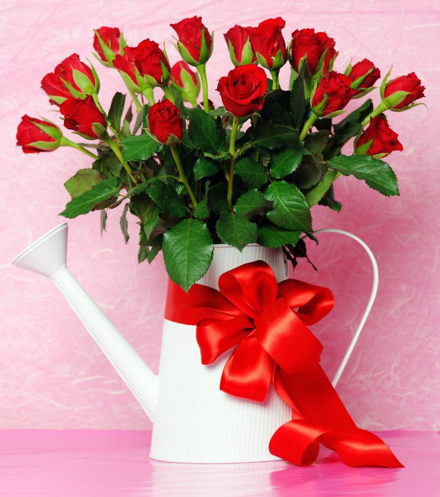 Naozaj pekný pohľad na bohatú kyticu červených ruží v bielej krhličke, navyše s efektne previazanou výraznou červenou stuhou.