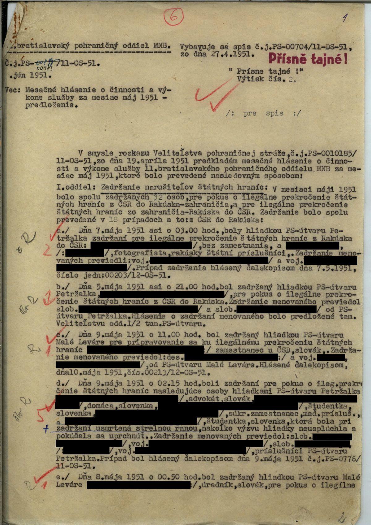 Hlásenie pohraničiarov o pokusoch o útek za hranice z roku 1951.